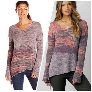Prana Vignett Asymmetrical Hem Mesh Sweater Blouse